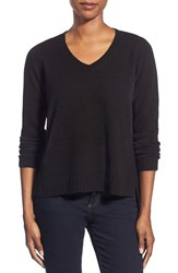 Women's Eileen Fisher Boxy Wool V Neck Top Coffee
