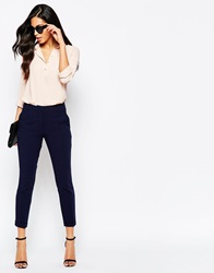 Closet Turn Up Trousers With Pleat Front Navy