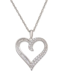 Macy's Diamond Heart Pendant Necklace 1 2 Ct. T.W. In 14K White Gold