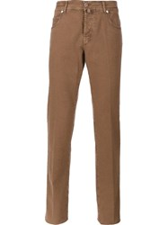 Kiton Slim Fit Jeans Brown