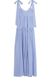 Caroline Constas Elle Gingham Cotton Maxi Dress Light Blue