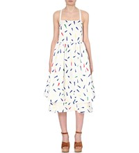 Edit Printed Poplin Midi Dress Multi Marks