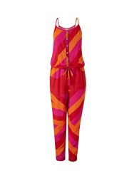 Lavand Striped Jumpsuit Red