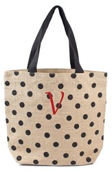 Cathy's Concepts Personalized Polka Dot Jute Tote Grey Black V