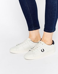 Fred Perry Spencer Leather White Navy Trainers White And Navy
