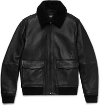Michael Kors Kor Hearling Trimmed Full Grain Leather Bomber Jacket Black