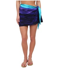 Miraclesuit Deep End Tie Side Sarong Cover Up Eggplant Women's Swimwear Purple
