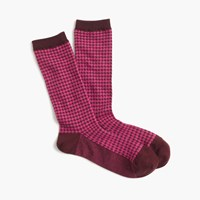 J.Crew Trouser Socks In Houndstooth Print Cabernet Berry