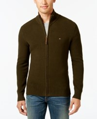 Tommy Hilfiger Men's Fabian Full Zip Sweater Mack Green