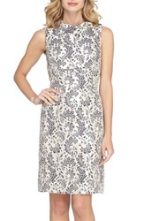 Tahari Petite Women's Foldover Neck Jacquard Sheath Dress Champagne