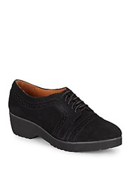 Gentle Souls Brim Suede Wedge Oxfords Black