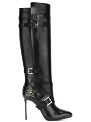 Roberto Cavalli Buckle Detail Knee High Boots Black
