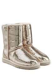 Ugg Australia Sparkles Sequin Coated Suede Boots Silver