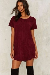 Nasty Gal This Is The Girl Vegan Suede Tee Dress Plum Red
