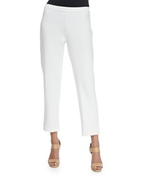 Joan Vass Ponte Slim Ankle Pants White Women's