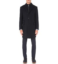 Corneliani Identity Tonal Striped Wool Overcoat Dk Blue