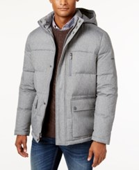 Kenneth Cole New York Herringbone Down Puffer Jacket With Removable Hood Grey