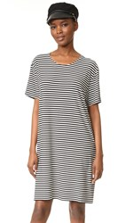 Norma Kamali Kulture Short Sleeve Boxy Dress Ivory Black Stripe