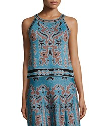 M Missoni Metallic Embroidered Jacquard Sleeveless Top Blue