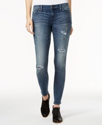 Tommy Hilfiger Ripped Embellished Medium Blue Wash Skinny Jeans Only At Macy's Medium Wash