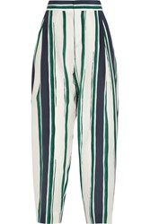 Chloe Cropped Striped Silk Crepe Tapered Pants Blue