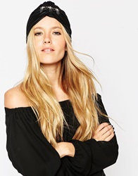 Asos Pleated Turban Hat With Brooch Embellishment Black