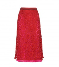 Salvatore Ferragamo Lace Midi Skirt Red