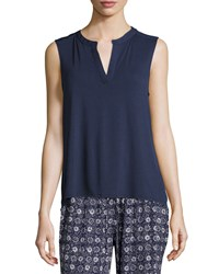Laundry By Shelli Segal Chiffon Back Sleeveless Tunic Top Majestic Blue