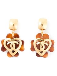 Chanel Vintage Logo Heart Earrings Yellow And Orange