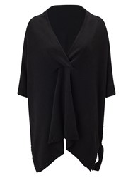 East Wrap V Neck Poncho Black