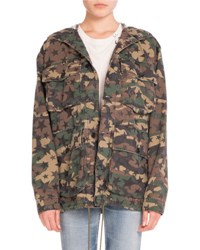 Saint Laurent Star Print Camo Cargo Jacket Khaki