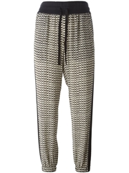 Tamara Mellon Chevron Print Trousers Black