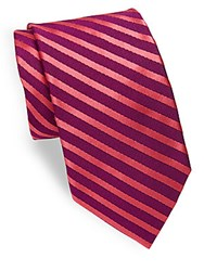 Ike Behar Narrow Repeating Striped Tie Berry Coral