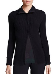 Piazza Sempione Ribbed Snap Front Cardigan Dark Blue