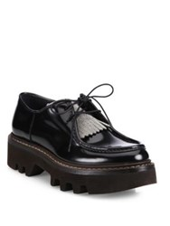 Brunello Cucinelli Monili Kilt Leather Platform Oxfords Black