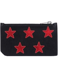 Saint Laurent Star Embroidered Pouch Black