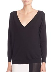 Ralph Lauren Easy Merino Wool V Neck Sweater Black