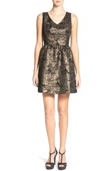 Junior Women's Frenchi Metallic Jacquard Fit And Flare Dress