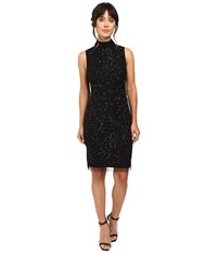 Adrianna Papell Mock Turtleneck Beaded Sheath Black Women's Dress