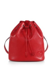 Gucci Soho Leather Drawstring Backpack Red Nero Black