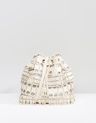 Mango Fringed Eyelet Bucket Bag Cream