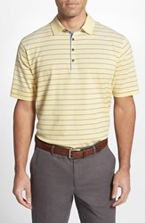 Men's Big And Tall Cutter And Buck 'Gabriel Stripe' Regular Fit Oxford Cotton Polo Shine Yellow