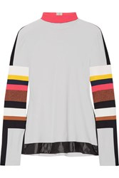 No Ka' Oi Ka'oi Naka Paneled Stretch Jersey Turtleneck Top Off White