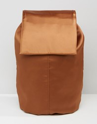 Asos Satin Unlined Backpack Brown