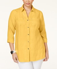 Jm Collection Woman Jm Collection Plus Size Button Down Linen Shirt Only At Macy's Banana Cream