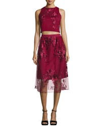 Label By 5Twelve Two Piece Embroidered Social Skirt Set Plum