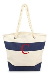 Cathy's Concepts Personalized Stripe Canvas Tote Blue Navy C