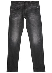 Replay Anbass Black Faded Slim Leg Jeans
