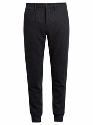 Burberry Cuffed Wool Herringbone Trouser Navy