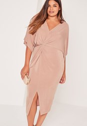 Missguided Plus Size Slinky Kimono Midi Dress Pink Red